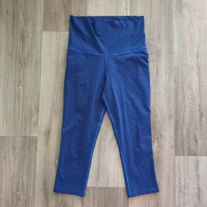 NIKE High Rise Foldover Yoga Capri Pant Blue SMALL